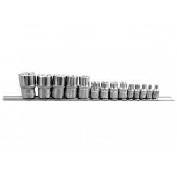 """Вложки E-TORX къси 1/4"""" , 3/8"""" , 1/2"""" комплект 14 броя FORCE"""